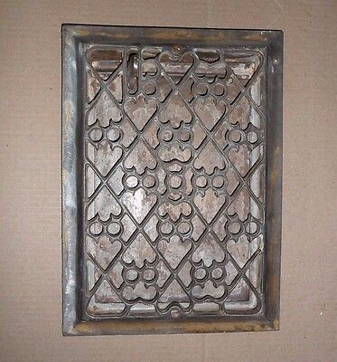 Antique Cast Iron Floor Heating Grate. Ornate. Owl & Heart. With Baffle. Vintage