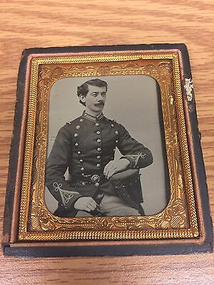 Ruby Ambrotype Photo of Union Civil War Officer 2pc Eagle Buckle Sixth Plate