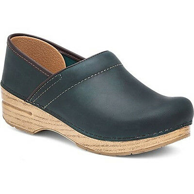 Dansko PROFESSIONAL Womens Oiled Teal Leather Slip On Closed Back Clog Shoes