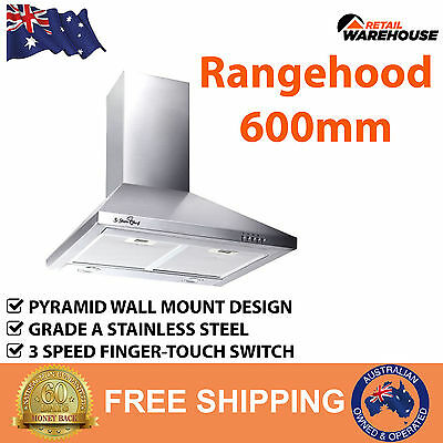 New Rangehood 600mm Range Hood 60cm 3 Fan Speed Stainless Steel Kitchen