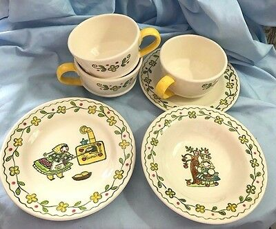 Metlox Poppytrail Happy Time Cups, Saucer, Small Plate, Small Bowl