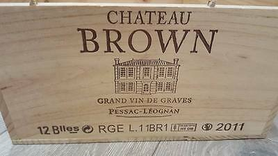 Chateau Brown French Wooden Wine Box / Crate / Hamper / Storage Box 12 Bottle.