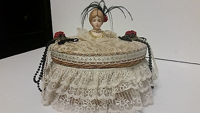 """Vintage Asian Woven Wicker Sewing Basket Round Victorian Style 9"""" X 4"""" X 3"""""""