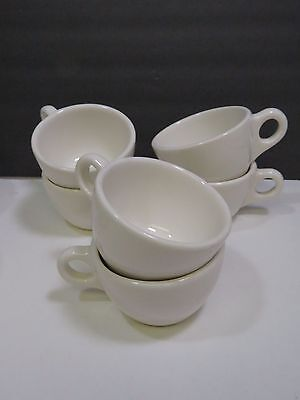 """Set of 6 Buffalo China White Coffee Cups Tea 2.5"""" Diner Restaurant"""
