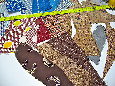 Lot Of 1880-1910 Antique Cotton Fabric Pieces For Quilts, Dolls