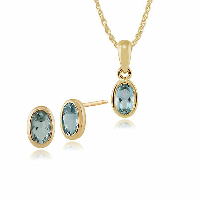 Gemondo 9ct Yellow Gold Aquamarine Oval Framed Stud Earrings & 45cm Necklace Set