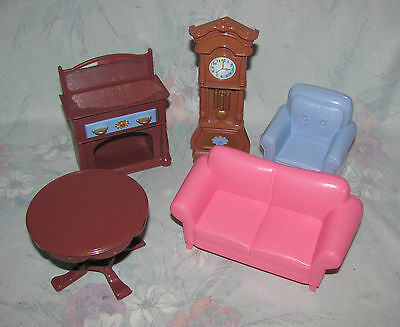 Fisher Price Loving Family Dollhouse Living Room Sofa Grandfather Clock Couch