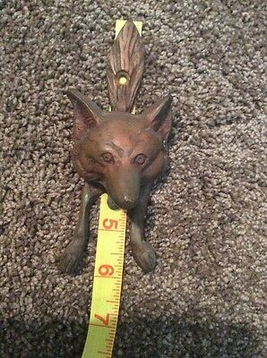 Antique Vintage English Solid Brass Fox Motif Door Knocker