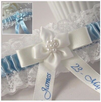 Personalised Ivory Lace Bridal Garter With Blue Satin Trim. Ivory Or Blue Flower