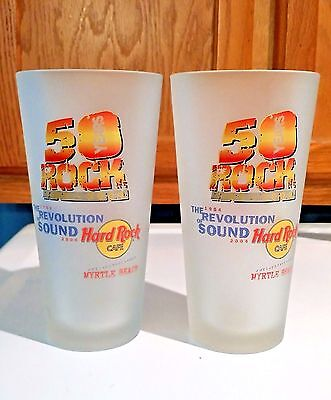 Hard Rock Cafe 50 Years of Rock Frosted 22 oz Glasses - Myrtle Beach - Set of 2