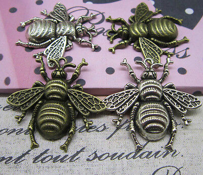 2-50pcs 40x38mm antique Silver lovely Little bee Charms Making pendants Jewelry