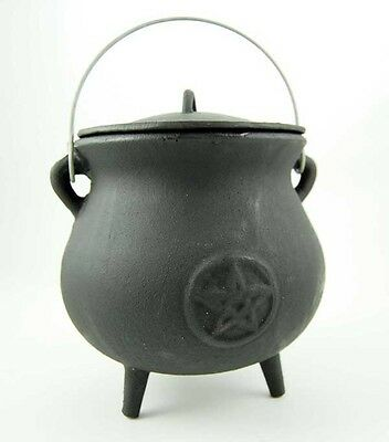 Cauldron Cast Iron Pot Bellied Pentagram Witch Spells Magic Wicca Pagan Altar
