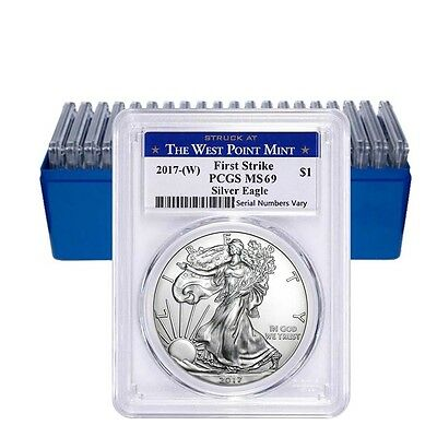 Lot of 20 - 2017-W 1 oz Silver American Eagle $1 Coin PCGS MS 69 First Strike (W