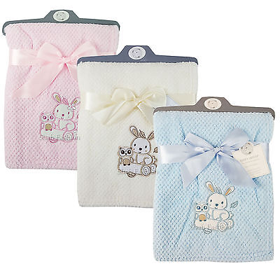Baby Boys Girls Soft Touch RABBIT & OWL Waffle Blanket Wrap In Multi Colours