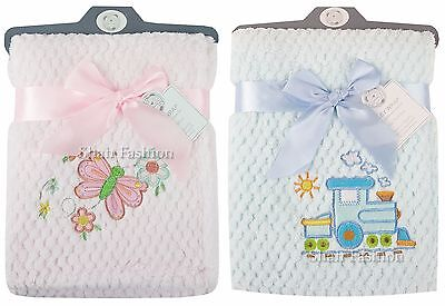 Baby Boys Girls Soft Touch Butterfly & Train Waffle Blanket Wrap