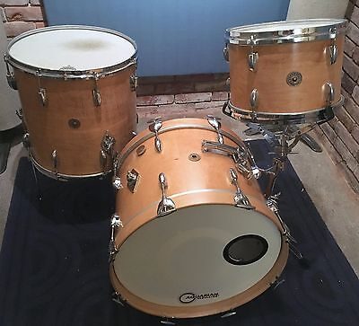 GRETSCH Round Badge Blonde Natural 3 pc Maple Drum Set 8/12 16/16 14/20 60s Vtg