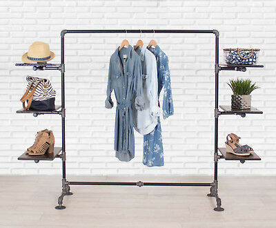 Clothing Rack Industrial Pipe Clothing Rack with Wood Shelving Garment Rack