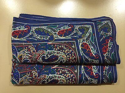 Vintage Perry Ellis Square Silk Scarf Blue Paisley