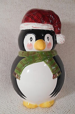 "11"" THE CELLAR Christmas Twilight Collection Penguin Cookie Jar by Laurie Gates"