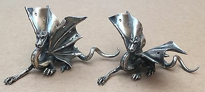 Vintage Pair Of Sterling Silver Dragon Statues Figurines 186 Grams- Fast Ship!