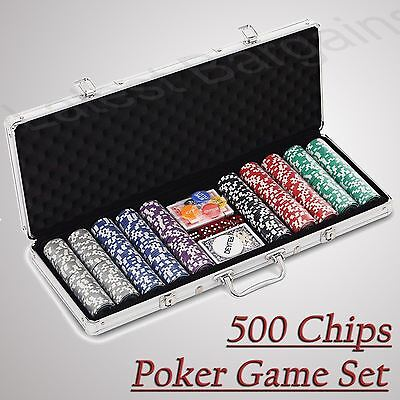 500 Chip Professional Poker Game Set Aluminium Case NEW Chips Cards Dice