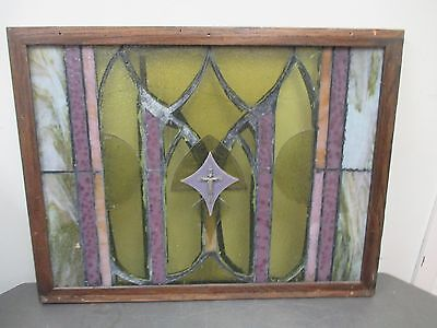 Handmade Vintage Stained Glass Window With Wood Frame With Crucifix Center
