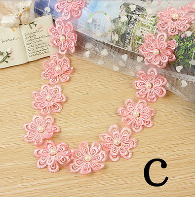2 Yards Flowers pearl Lace Wedding dress clothing Crochet Trim accesories crafts