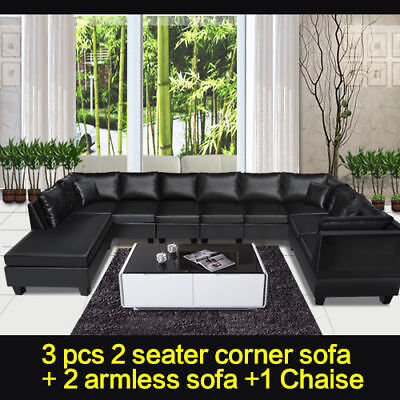 New Black Sofa Bed Modular Lounge Suite Chaise Couch Seater PU Leather