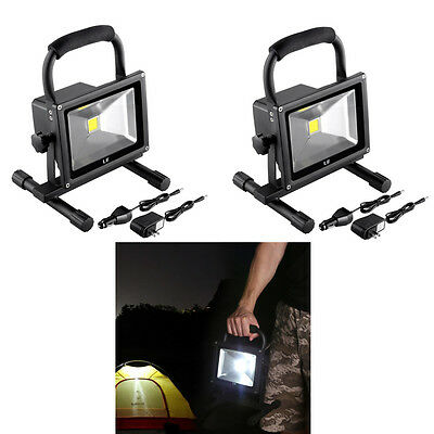 2pcs 20W Rechargeable Portable LED Work Light 1400lm Outdoor Floodlight