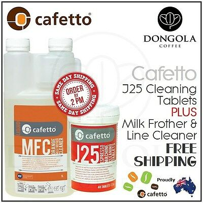 CAFETTO MFC Milk Frother & Line Cleaner + J25 Espresso Coffee Machine Cleaning