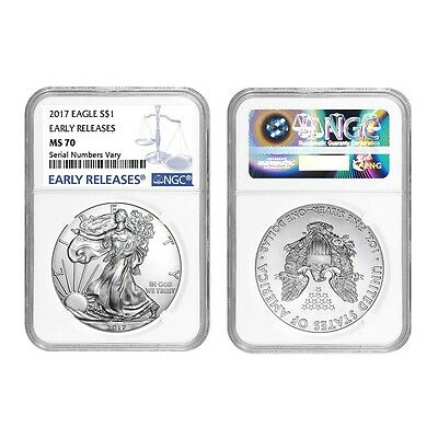 Lot of 2 - 2017 1 oz Silver American Eagle $1 Coin NGC MS 70 Early Releases