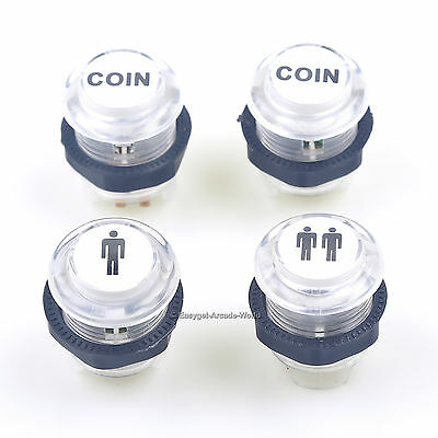 LED Illuminated Arcade LED Start Push Button 1P + 2P + Coin Buttons MAME Games