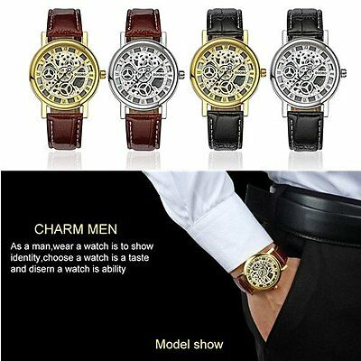 DOOBO Business Students Lovers Hollow Out PU Leather Quartz Wrist Watch D010 GT