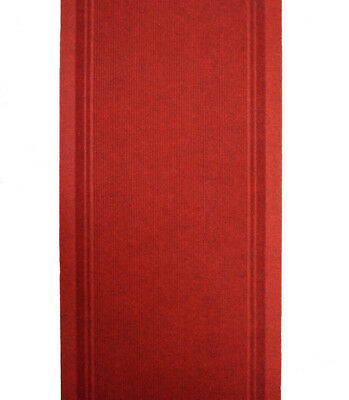 Hallway Runner Carpet Rug Red 68cm Wide Rubber Backed Typhoon Per Metre New