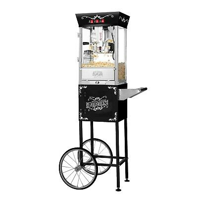 Great Northern Black Antique Style 8 Oz Popcorn Popper Machine w/Cart, 8 Ounce