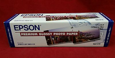 """Epson Premium Glossy Photo Ink Jet Paper 13"""" x 32.8' in. Roll  S041378 FREESHIP"""