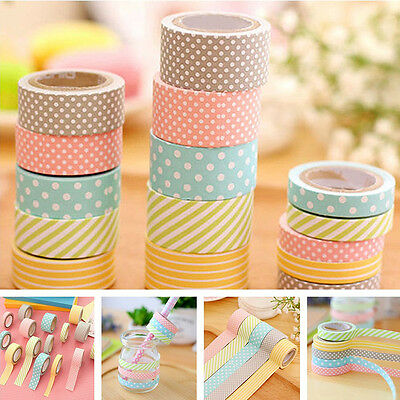Colorful 5 Rolls Washi Tape Decorative Sticky Paper Masking Tape Adhesive Sturdy