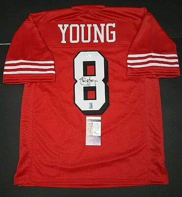 05f05239f STEVE YOUNG Signed Autographed San Francisco 49ers Custom Jersey XL. JSA