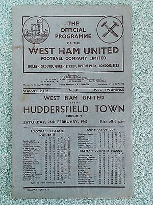 1949 - WEST HAM UTD v HUDDERSFIELD TOWN PROGRAMME - FRIENDLY - FEB 26TH