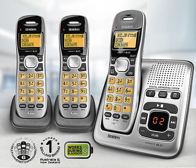 Uniden Cordless Home Phone 3 Handsets with Answering Machine Caller ID