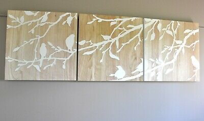 Birds In Spring-Reverse White-Carved Timber Wooden Wall Art-Deco 3 Panel Carving