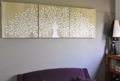 Natures Gift-Reverse White-Carved Tree Timber Wall Art-Deco 3 Panel Wood Carving