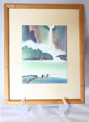 LTD Signed GARY POON TAI TO Waterfall Chinese Silk Watercolor FRAMED PRINT