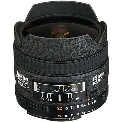 Nikon AF FX Fisheye-NIKKOR 16mm f/2.8D Fixed Lens with Auto Focus for Nikon