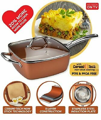 NEW COPPER CHEF DEEP DISH SQUARE PAN Cookware Induction Steamer Frypan 24x15cm