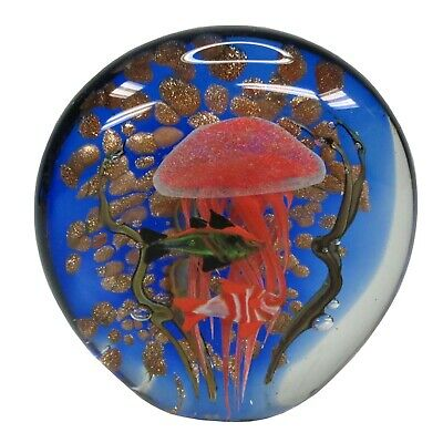 New Glass Paperweight Egg Shape Twin Blue Green Jellyfish 8 x 8 x 16 cm