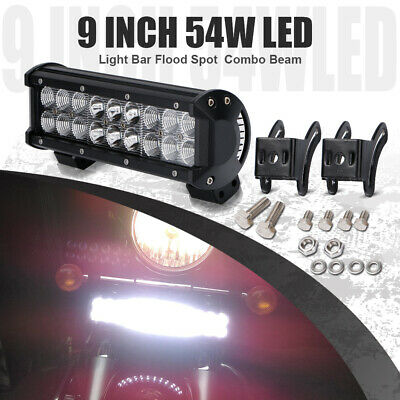 54W 9inch LED Light Work Bar Spot flood for Offroad Jeep Truck 4WD Bumper SUV