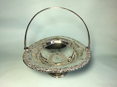 Vintage Silver Plated Swing Handled Dish/Basket - 1947 Dublin - W.P Lewis & Co