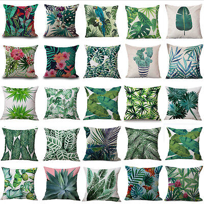 "18"" Tropical Plant Floral Leaves Pillow Case Cotton Cushion Cover Car Home Decor"