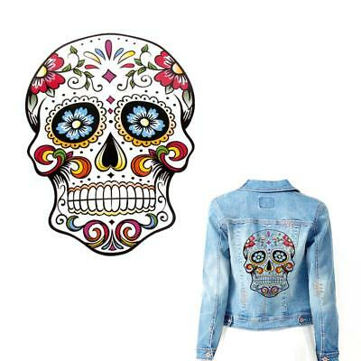 Sugar Skull Patch Iron On Transfer Badge Applique Fabric Printing Clothes DIY